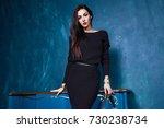 sexy brunette businesswoman... | Shutterstock . vector #730238734
