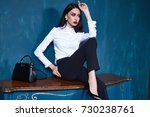 beautiful sexy young business... | Shutterstock . vector #730238761