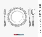 hand drawn plate  spoon  fork... | Shutterstock .eps vector #730241734