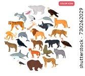 set of land and water predators ... | Shutterstock .eps vector #730262029