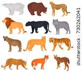 set of wild predators color... | Shutterstock .eps vector #730262041