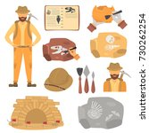 archaeologist and archeology... | Shutterstock .eps vector #730262254