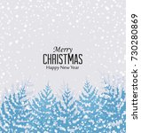 christmas snowy forest | Shutterstock .eps vector #730280869