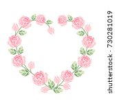 background with pink roses | Shutterstock .eps vector #730281019