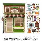 coffee shop facade which... | Shutterstock .eps vector #730281091