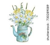 vintage blue metal teapot with... | Shutterstock . vector #730289089