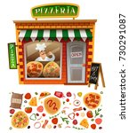 pizzeria shop facade with... | Shutterstock .eps vector #730291087