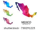 set of polygonal map blank on... | Shutterstock .eps vector #730291225