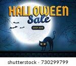 halloween sale banner.... | Shutterstock .eps vector #730299799