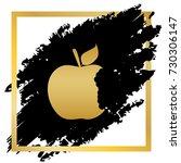 bited apple sign. vector.... | Shutterstock .eps vector #730306147
