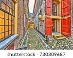 historic alley with windows and ... | Shutterstock . vector #730309687