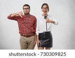 depressed man shows dislike... | Shutterstock . vector #730309825