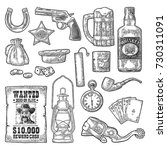 set wild west symbols. sheriff... | Shutterstock .eps vector #730311091