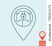 electric car with map pin icon. ... | Shutterstock .eps vector #730312171