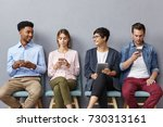 diverse group of young people... | Shutterstock . vector #730313161