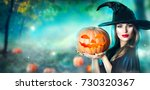 Halloween Witch With A Carved...