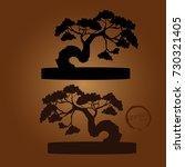 bonsai tree. black silhouette...