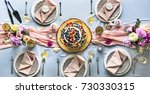 wedding reception table setting | Shutterstock . vector #730330315