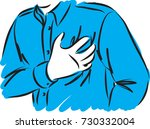 man with chest pain vector... | Shutterstock .eps vector #730332004