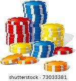 vector  poker chips many stacks ... | Shutterstock .eps vector #73033381