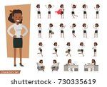 set of businesswoman character... | Shutterstock .eps vector #730335619