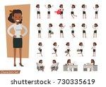 set of businesswoman character... | Shutterstock .eps vector #730335619