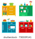 kitchen cabinets set with... | Shutterstock .eps vector #730339141