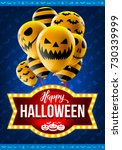happy halloween concept with... | Shutterstock .eps vector #730339999