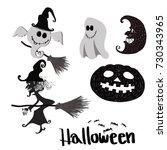 halloween elements with... | Shutterstock . vector #730343965