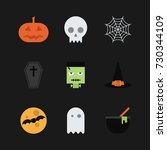 halloween colorful icon set... | Shutterstock .eps vector #730344109