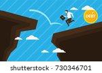 businessman runs out of debt in ... | Shutterstock .eps vector #730346701