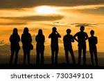silhouette group friend in... | Shutterstock . vector #730349101