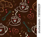 seamless pattern with coffee ...   Shutterstock .eps vector #730350229