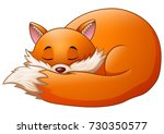 vector illustration of cute fox ... | Shutterstock .eps vector #730350577