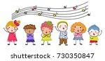 group of children singers | Shutterstock .eps vector #730350847