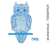 owl. design zentangle. detailed ... | Shutterstock .eps vector #730369525
