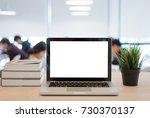 laptop and computer screen | Shutterstock . vector #730370137