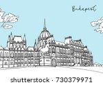 travel illustration   budapest... | Shutterstock .eps vector #730379971