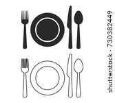 fork  plate  knife  spoon icon... | Shutterstock .eps vector #730382449