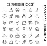 swimming icon set. collection... | Shutterstock .eps vector #730387021
