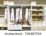 modern wooden wardrobe with... | Shutterstock . vector #730387534
