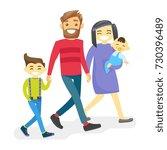 cheerful multiethnic family... | Shutterstock .eps vector #730396489