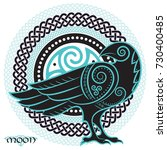 raven hand drawn in celtic... | Shutterstock .eps vector #730400485