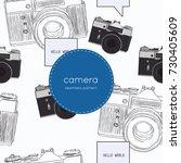 vintage rangefinder film camera ...   Shutterstock .eps vector #730405609