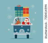 happy holiday poster. cute deer ... | Shutterstock .eps vector #730414594