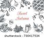 autumn illustration  sketch  ... | Shutterstock .eps vector #730417534