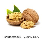 walnuts with leaves isolated on ... | Shutterstock . vector #730421377