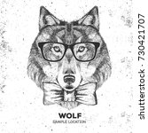 retro hipster animal wolf. hand ... | Shutterstock .eps vector #730421707