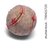 Small photo of Old Beat Up Baseball Isolated on a White Background.