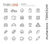 collection of bakery thin line... | Shutterstock .eps vector #730423144